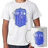 Spike Tee Promo T-Shirt con Tazza Mug Abbinata Doctor Who Tardis Esplosione di Colori - Serie Cult - Uomo M - Bianca