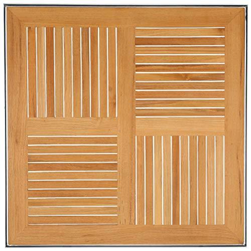 Teak-Tischplatte Luigi, 80x80x2cm (LxBxH), braun/silber, quadratisch