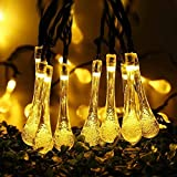 Dailyart Warmwhite 4.8M 20 LED Icicle Lights Solar Powered Raindrop Garden String Fairy Lights/ LED Waterproof Decorative Lights for Outdoor, Garden, Patio, Christmas, Xmas Tree, Holiday Party