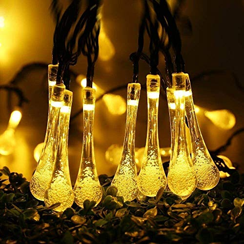 Dailyart Warmwhite 4.8M 20 LED Icicle Lights Solar Powered Raindrop Garden String Fairy Lights/ LED...