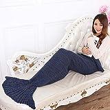 Addfun reg;Meerjungfrau Schwanz Decke,handgefertigt Häkeln Alle Jahreszeiten Warm Weich Leben Zimmer Schlafen 180x90cm Tiefes Blau