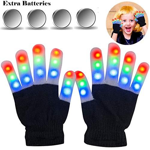 LED Handschuhe für Kinder, Klein Leucht Handschuhe mit 6 Blinkende Modus für Weihnachten/Festivals/Rave, Finger Leuchten Spielzeug Geschenk für Mädchen Junge 4-15 Jahre (Extra Batterie-Set Enthalten) -