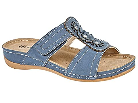 Ladies Gezer Faux Leather Cut Out Summer Slip On Lightweight Low Wedge Mule Sandals Shoe 3-8 (UK 7,