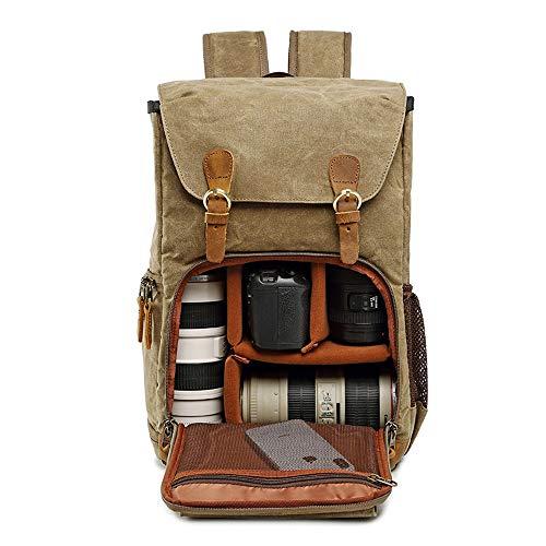 Leinwand Kamera rucksack SCAML DSLR SLR Wasserdicht Stoßfest Leicht und langlebig für Digitalkamera Canon Nikon Sony Männer Und Frauen Tasche Kamera Liner Digital-Paket Khaki