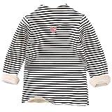 Kobay Kinder Mädchen Jungen Sweatshirts Streifen Herz Geraffte Dicke Warme Trägerhemd Tops(2-3T,Weiß)