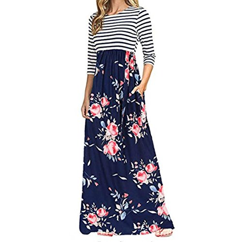 Sommerkleider Damen Streifen Rundhals Ärmellos Tasche Lässige Strand Lange Maxikleid Abendkleid...