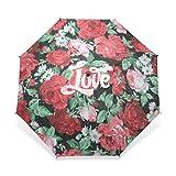 ENNE Regenschirm Love rot Rose Regenschirm Regen winddicht Faltbarer Regenschirm Sun leicht zu tragen Travel Compact Regenschirm leicht