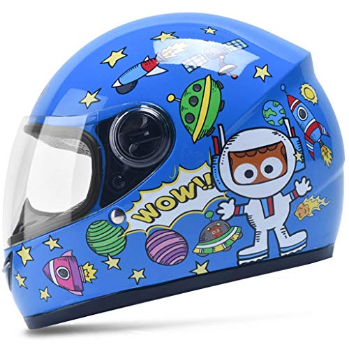 to Boy Girl Warm halten im Winter Cartoon Half Helmet (Color : Blue) ()