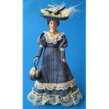 Bambola Dama Da bambina elegante blu Abito e Cappello Puppenstube Miniatura 1:12