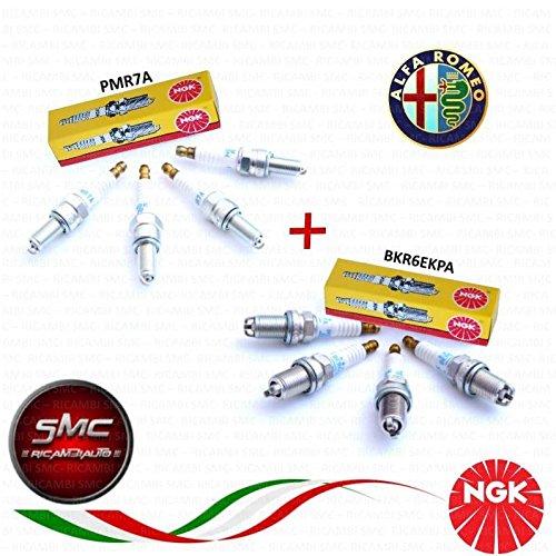 8 CANDELE ORIGINALI NGK PER MOTORI TWIN SPARK 4x PMR7A + 4x BKR6EKPA