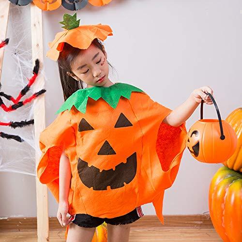 Unschuldige Engel Kostüm - SUT Kinderkürbis Kostüm, Halloween Cosplay Kostüm Kürbis Make-up Kostüm Erwachsene/Kind Kürbis Kleid Kürbis Hut,Yellow