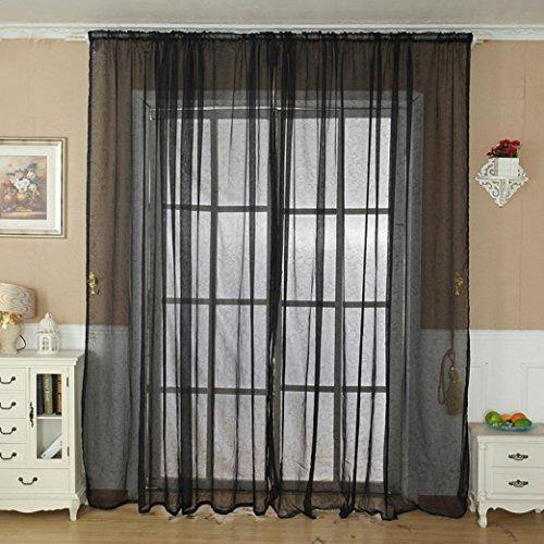 LCLrute 1Pcs Stange durch Einfarbig Tulle Tür Fenstervorhang Drapieren Panel Sheer Schal Volant 200 cm x 100 cm (Schwarz) Vorhang-rod-spannung