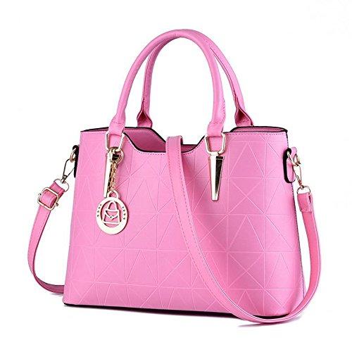 HQYSS Borse donna Dolce signora atmosferica moda PU cuoio donna spalla borsa Messenger , light gray pink
