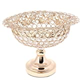 MagiDeal Kristall Deko Schale Obstschale Dekoteller Obst Servierplatte für Hochzeit Fest - Oval Gold