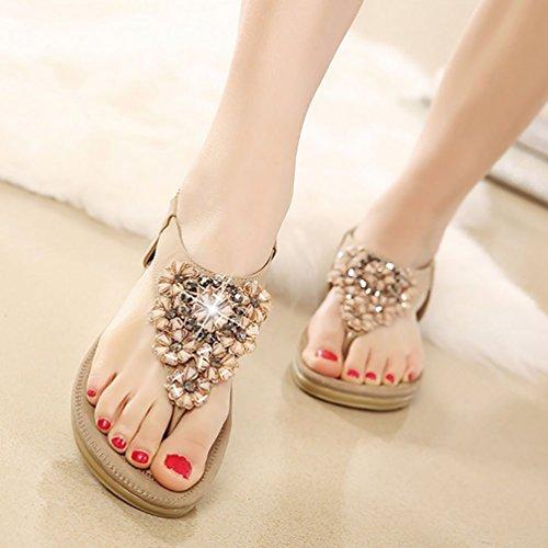 YOUJIA Damen Sandalen Schuhe Flattie mit Drill Strappy Flip Flops 35-41 Aprikose