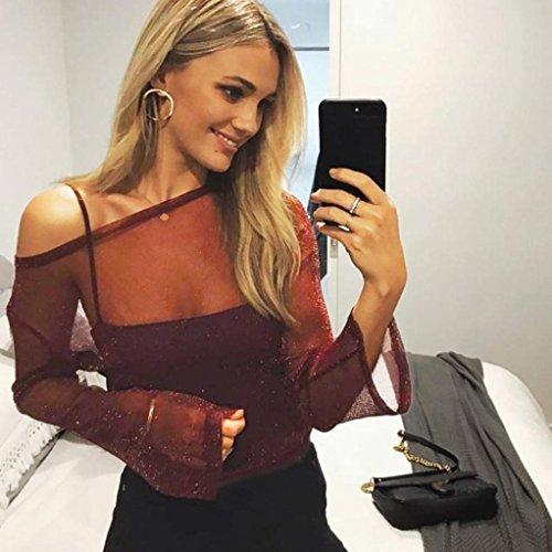 Yogogo Femmes Sexy Chemise Mesh Sheer Hauts Transparent Tops Tunique Blouse Manche Longue Shirt Fil Net Hors Devrait ÉVider La Perspective Manche Longue T-Shirt Rouge