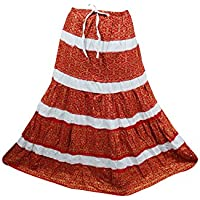 Mogul Interior Bohemian Maxi Skirt Red Crinkle Cotton Gypsy Flirty Long Skirts For Her