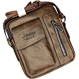 Jeep Buluo Leather Small Size Cross Body Bag For Men - Brown