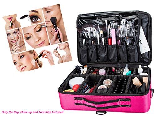 VOSMEP Schminktasche, 31*14*42 cm Große Kapazität, 3 Schicht Professional Makeup Tasche, ideal für Berufsverfassungs oder Ausgangsgebrauch Kosmetikkoffer Rosa HB13