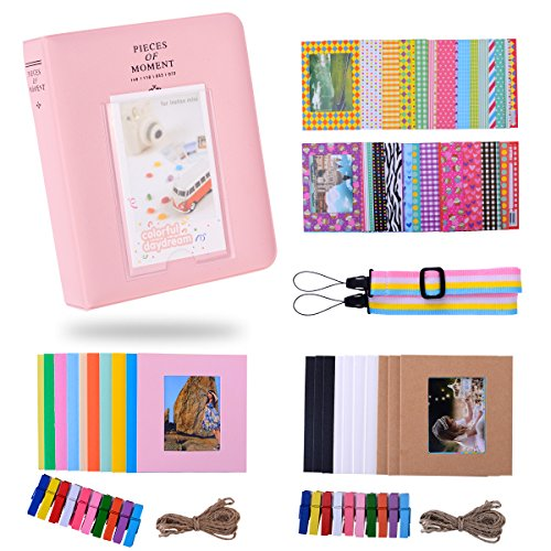 Kaka Film Rahmen Bundles Set für HP Sprocket Portable Fotodrucker / Polaroid ZIP Mobiler Drucker / Polaroid Snap Instant Digitalkamera mit Album / Frames / Hängende Frames / Aufkleber - Rosa