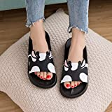 NIGHT WALL Slides,Ladies'Summer Slippers, Men's Indoor Sandals, Lovers' Home Cartoon Softsole Sandals,Black A,40