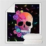 VFUBITZ Cobija Ropa de Cama Outlet Manta de azúcar para Camas Rosas Florales Edredón Fino Colcha de Moda 130x150cm Manta de Lana Flannel 150cmx200cm Skull5