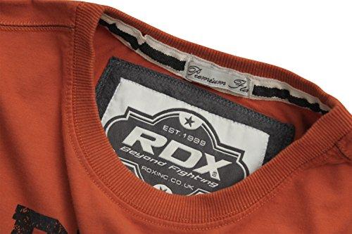 RDX Herren Gym Kurzarm T Shirt Sporthemd Trainingsshirt Präsentationsshirt Sportshirt Bodybuilding Freizeitshirt Crossfit Rost