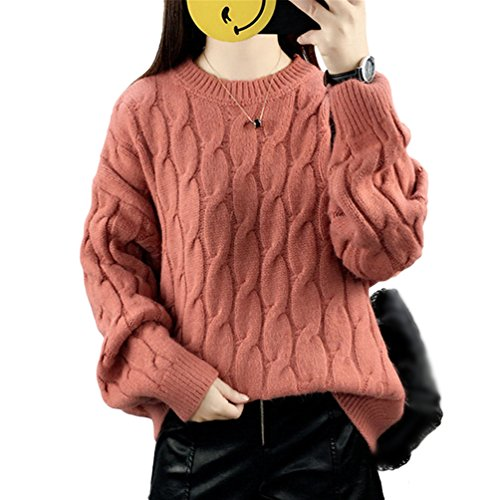 YOUJIA Femmes Pull en maille automne-hiver Batwing Chandail Col rond Chunky Tricots Uni Knit Pullover Jumper Caramel