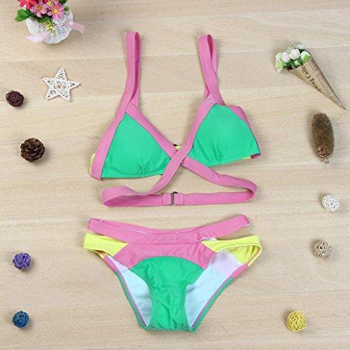 2017 Maillot de Bain, Xinan Bikini Set Sexy Bandage Push-up Padded Bra Beachwear Vert
