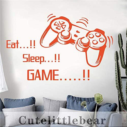 New Eat Sleep Game Aufkleber Gaming Vinyl Aufkleber Joystick Gamepad Gamer Wandkunst Design Teen Room Gaming Room Wandaufkleber kaffee 57X92 CM -