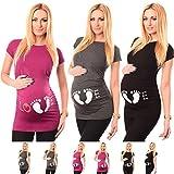 HCFKJ Femme Enceinte VêTements Grossesse InfirmièRe à Manches Courtes Pour Femmes Enceintes De Grossesse Maternité T-Shirt Imprimé De La MèRe Blouse (L, Gris)