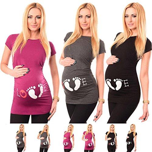 HCFKJ Femme Enceinte VêTements Grossesse InfirmièRe à Manches Courtes Pour Femmes Enceintes De Grossesse Maternité T-Shirt Imprimé De La MèRe Blouse (S, Rose vif)