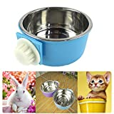 Namsan Pet Hanging Cage Bowl,Stainless Steel Dog Bowls,2 in 1 Small Animal Food&Water Bowl-Blue