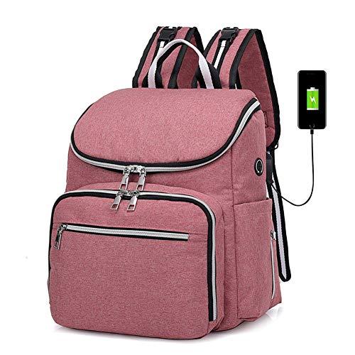 LNDD-Multifunktions Baby Wickelrucksack Wickeltasche Mumienbeutel USB-Lade- Und Kopfhöreranschluss Grosse Kapazität Reisetasche Wasserdicht Stilvoll,Rosa