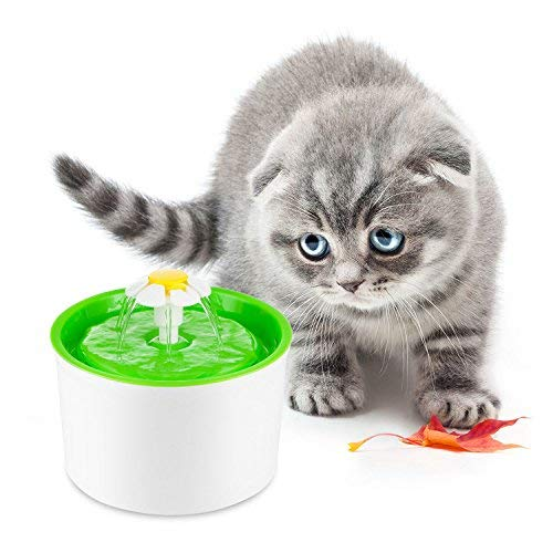Katzen- und Hundetrinkbrunnen Haustier Blumentrinkbrunnen Automatisch Trinkbrunnen für Katzen und Hunde Flüsterleise Kohlefilter Reinigung Frisches Wasser Wasserspender mit Aktivkohlefilter. Einzelne Matte