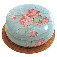 Rétro ronde thé café boîte de rangement de sucre en fer-blanc belle fleur rose Decor petite boîte à thé pour le voyage