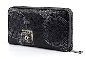 Y NOT? Night Time Zipped Wallet Golden Clock
