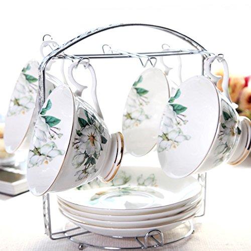 Ensemble de thé en céramique personnalisé / Ensemble de tasse de fleur / Ensemble de 4 tasses (4 couleurs en option) ( couleur : B )