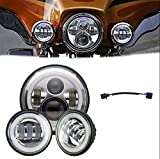 "LWD 7inch Led Headlights Blanc Halo Angel Eye & DRL + 2pcs 4.5 ""Inch Led Fog Lights Halo Ring DRL pour Harley Davidson Motos Touring Electra Glide Road"