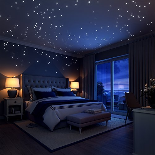Brilla en la oscuridad estrellas pegatinas de pared, 252 puntos adhesivos y luna para cielo estrellado, perfecto para niños cama habitación o regalo de cumpleaños, hermosa pared calcomanías por liderstar, . estrellas fluorescentes para el techo