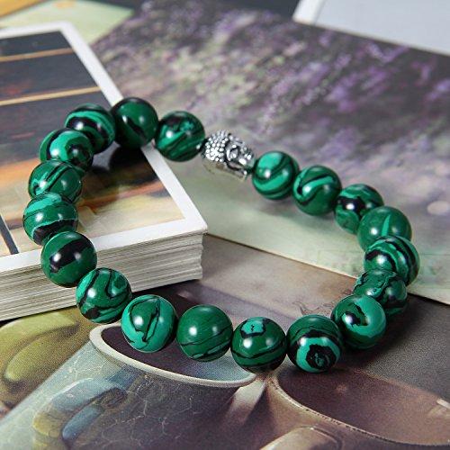 Flongo 8/10mm Alliage Bracelet d'énergie Perle Boule Pierre d'énergie Bouddha Mala Oeil de Tigre Malachite Artificiel Noir Vert pour Femme Homme Malachite Artificiel