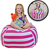 """EXTRA LARGE Stuff 'n Sit - Stuffed Animal Storage Bean Bag Cover by Smith's - Clean up the Room and Put Those Critters to Work for You! (40"""", Pink Striped)"""