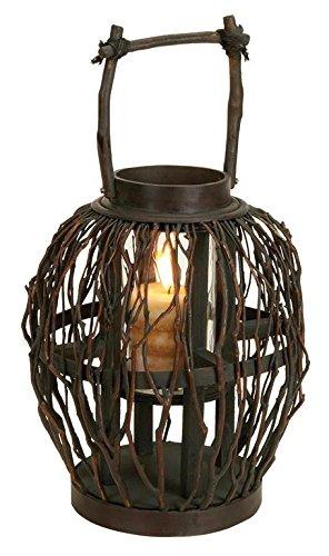 Deco 79 Bambou Lanterne en Verre, 17 par 25,4 cm