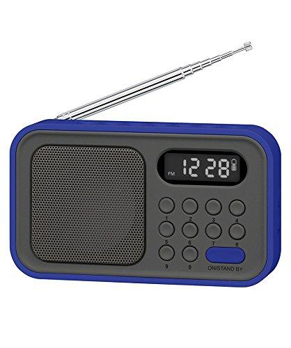 Sytech SY-1648AZ - Radio portatil (Digital, sintonizador PLL de 2 Bandas Am/FM), Color Azul