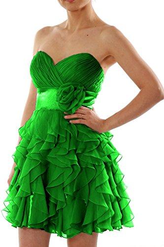 MACloth Women Strapless Chiffon Short Bridesmaid Dress Wedding Party Formal Gown Grün