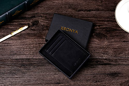 51wTcoLw1mL - Kronya | Elegant Leather Wallet with RFID Protection | Wallet Case Money Clip Holder Credit Card Holder