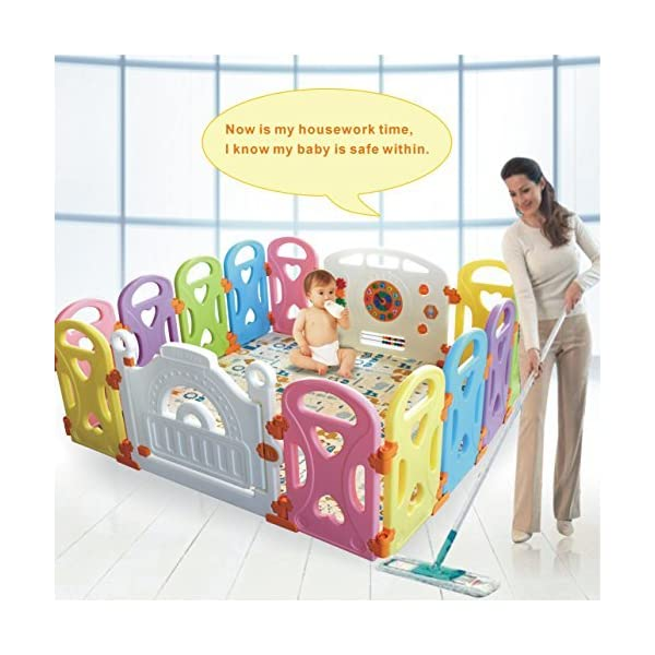 Baby Playpen Kids Activity Centre Safety Play Yard Baby Fence Play Area Baby Gate Home Indoor Outdoor New Pen (Multicolour, Classic Set 14 Panel) (Love 14panels) Gupamiga MOM'S LIFESAVER: Keep baby safe in there play centre when mom/dad needs to cook, clean up, go to the bathroom, etc. STURDY HOLDING: Specially designed rubber feet underneath of the yard so the parts don't go sliding around. COVERS A LARGE AREA: It is a great amount of space for baby to learn walk and even laying with baby in it for play time. 1
