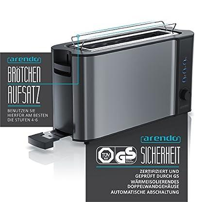 Arendo-Automatik-Toaster-Langschlitz-Defrost-Funktion-Wrmeisolierendes-Doppelwandgehuse-integrierter-Brtchenaufsatz-herausziehbare-Krmelschublade-in-Cool-Grey