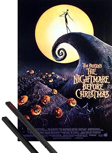 1art1 Poster + Hanger: The Nightmare Before Christmas Poster (98x68 cm) Tim Burton Inklusive EIN Paar Posterleisten, Schwarz