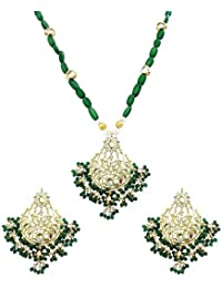 Mehrunnisa Gold Tone Kundan & Green Pearls Pendant Necklace Earrings Set With Simulated Emeralds & Free Kan Chain...